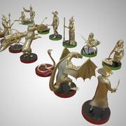 Szachy Wysoki Szczegółowy zestaw Mosiężne postacie Podwójny zestaw Model 3D 3d model