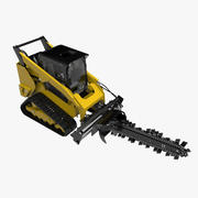 Compact Track with Trencher Rigged 3d model