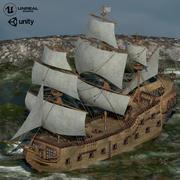 역사적인 배 3d model