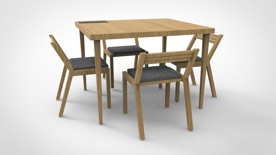 dinner table royalty-free 3d model - Preview no. 4