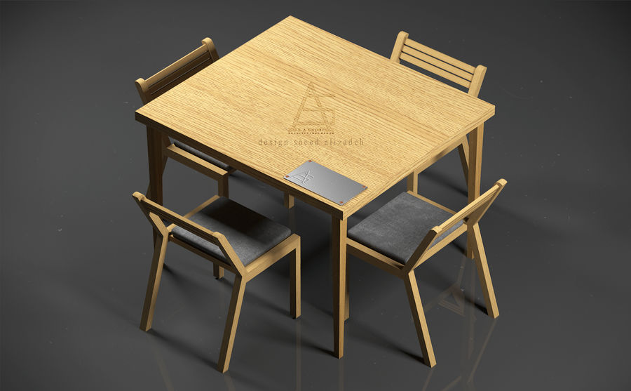 dinner table royalty-free 3d model - Preview no. 2