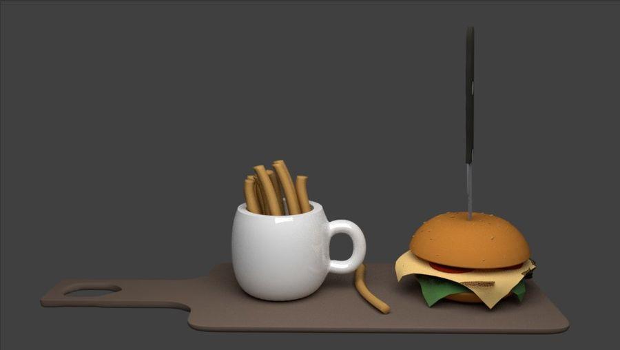 Cup Burger med mellanmål royalty-free 3d model - Preview no. 6