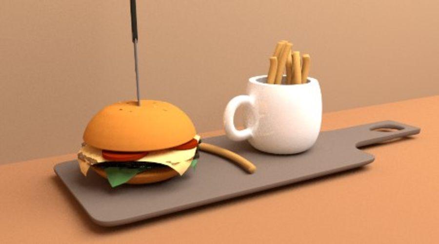 Cup Burger med mellanmål royalty-free 3d model - Preview no. 5