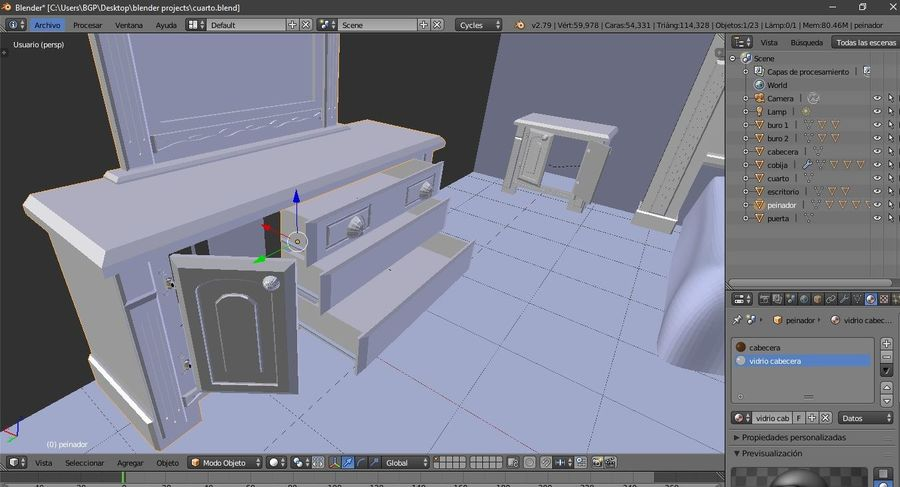 simple room royalty-free 3d model - Preview no. 5