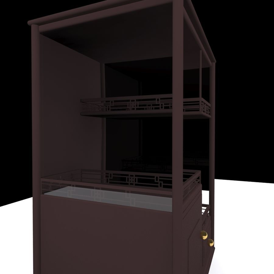 China Dish Cabinet royalty-free 3d model - Preview no. 2