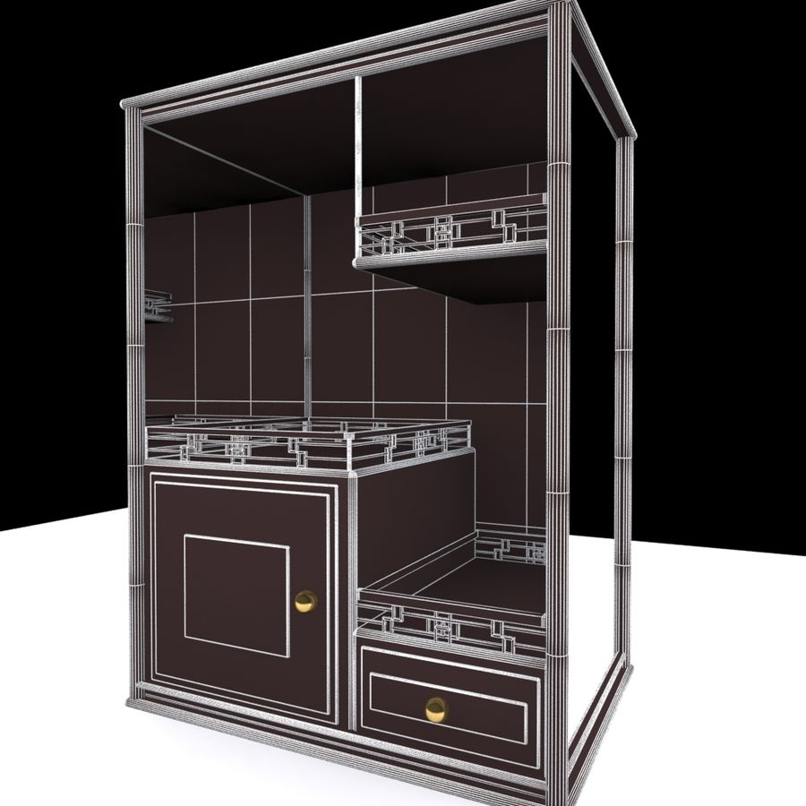 China Dish Cabinet royalty-free 3d model - Preview no. 5