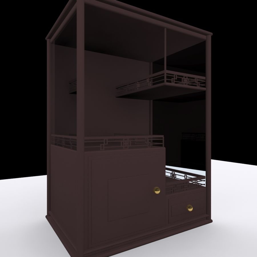 China Dish Cabinet royalty-free 3d model - Preview no. 1