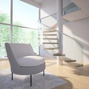 Modern Kavisli Deri Terlik Sandalye 3d model