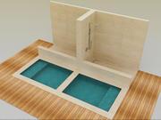 Japanska bad och dusch 3d model