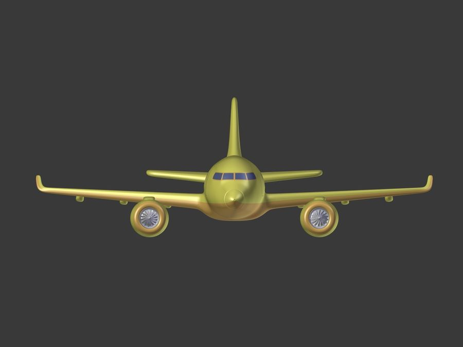 Cartoon Toy Airplane royalty-free 3d model - Preview no. 10