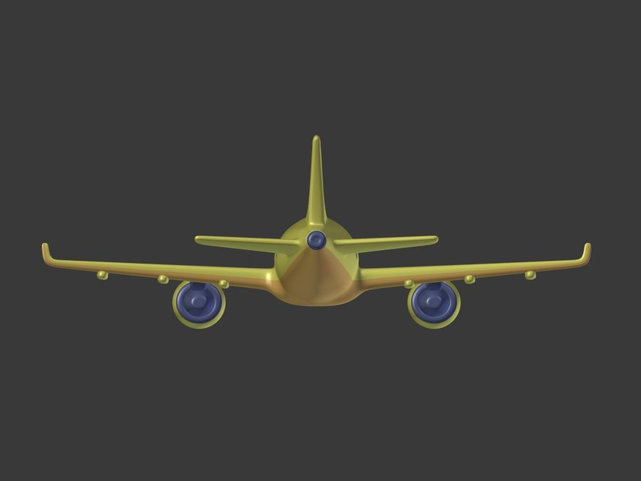 Cartoon Toy Airplane royalty-free 3d model - Preview no. 16