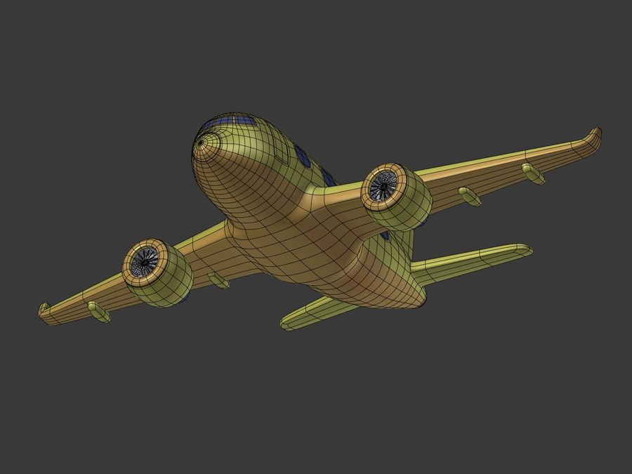 Cartoon Toy Airplane royalty-free 3d model - Preview no. 23