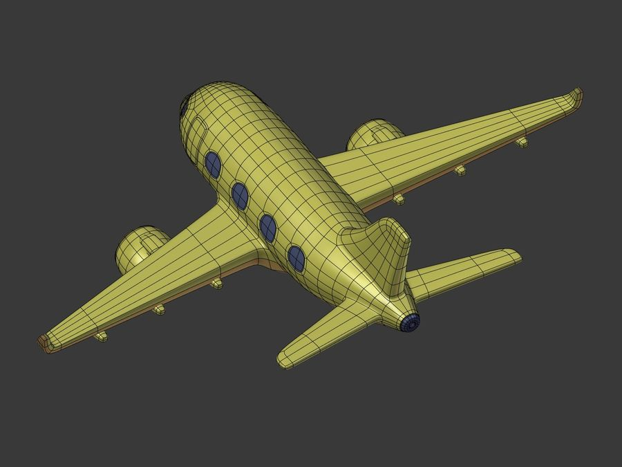 Cartoon Toy Airplane royalty-free 3d model - Preview no. 19