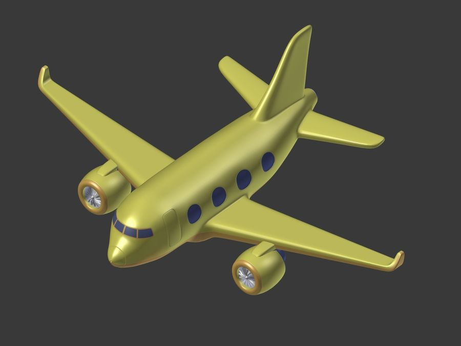 Cartoon Toy Airplane royalty-free 3d model - Preview no. 8