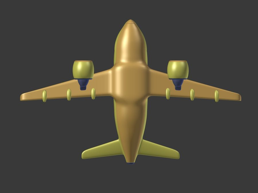 Cartoon Toy Airplane royalty-free 3d model - Preview no. 14