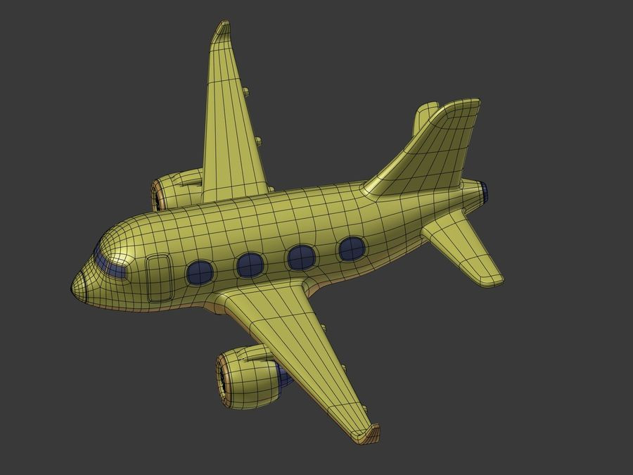 Cartoon Toy Airplane royalty-free 3d model - Preview no. 21