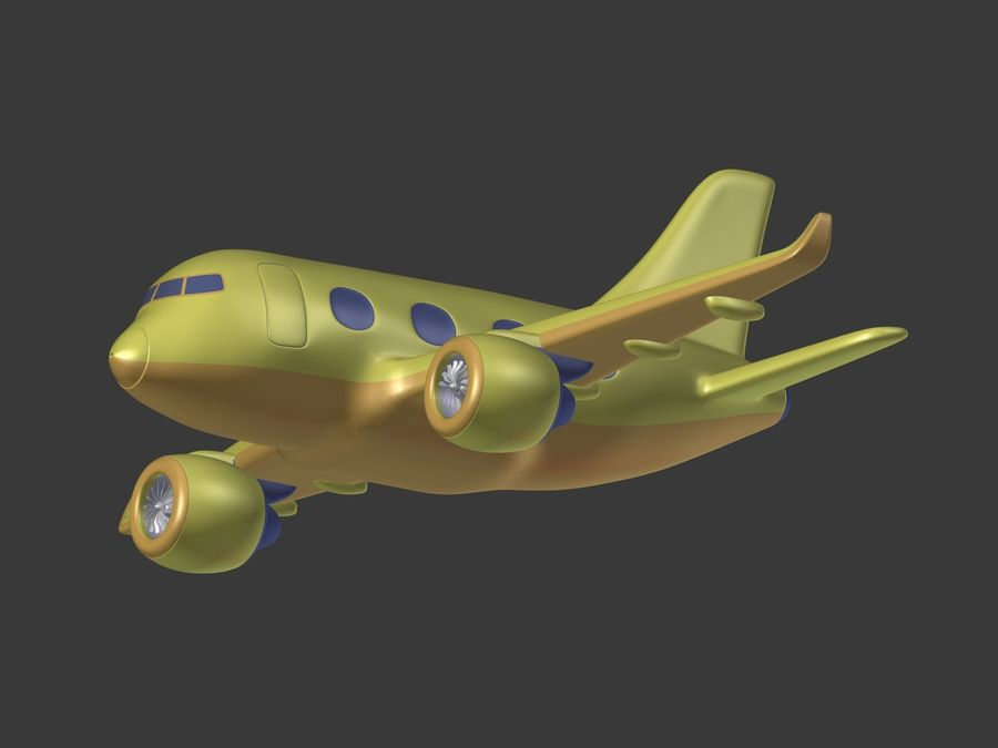 Cartoon Toy Airplane royalty-free 3d model - Preview no. 6