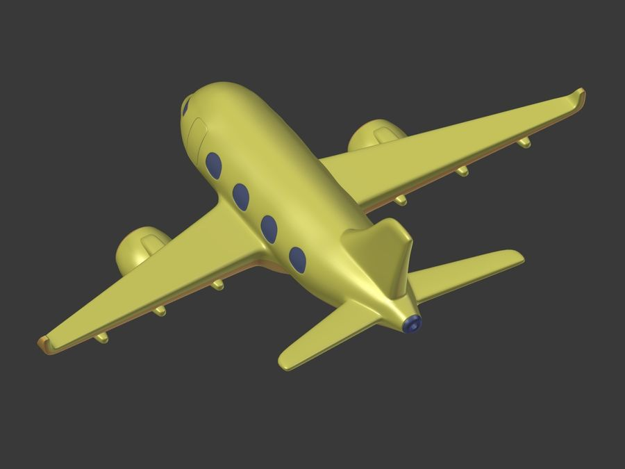 Cartoon Toy Airplane royalty-free 3d model - Preview no. 18