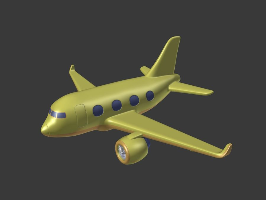 Cartoon Toy Airplane royalty-free 3d model - Preview no. 2