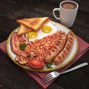 Petit-déjeuner anglais complet 3d model