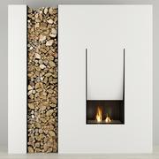暖炉と薪Antoniolupi 3d model
