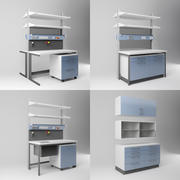 Scientific Laboratory Furniture Set - Equipment for Labs 3d model