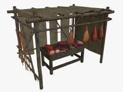 LowPoly Средневековый мясной ларек 3d model