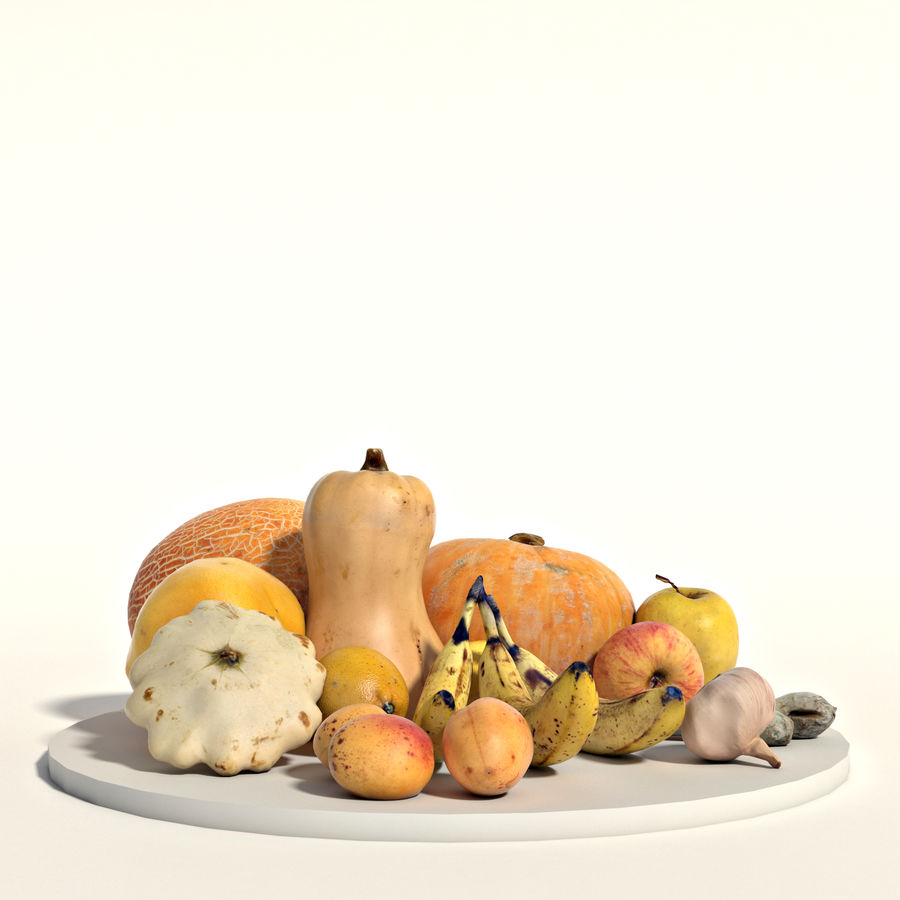 Set of fruits and vegetables royalty-free 3d model - Preview no. 5