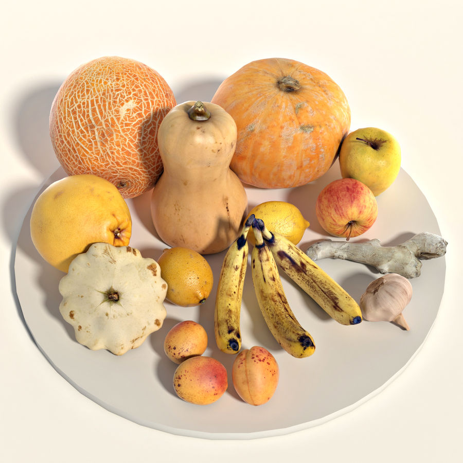 Set of fruits and vegetables royalty-free 3d model - Preview no. 1