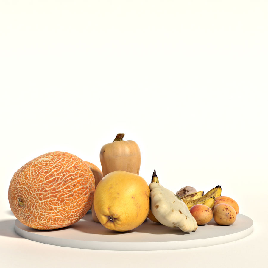 Set of fruits and vegetables royalty-free 3d model - Preview no. 3