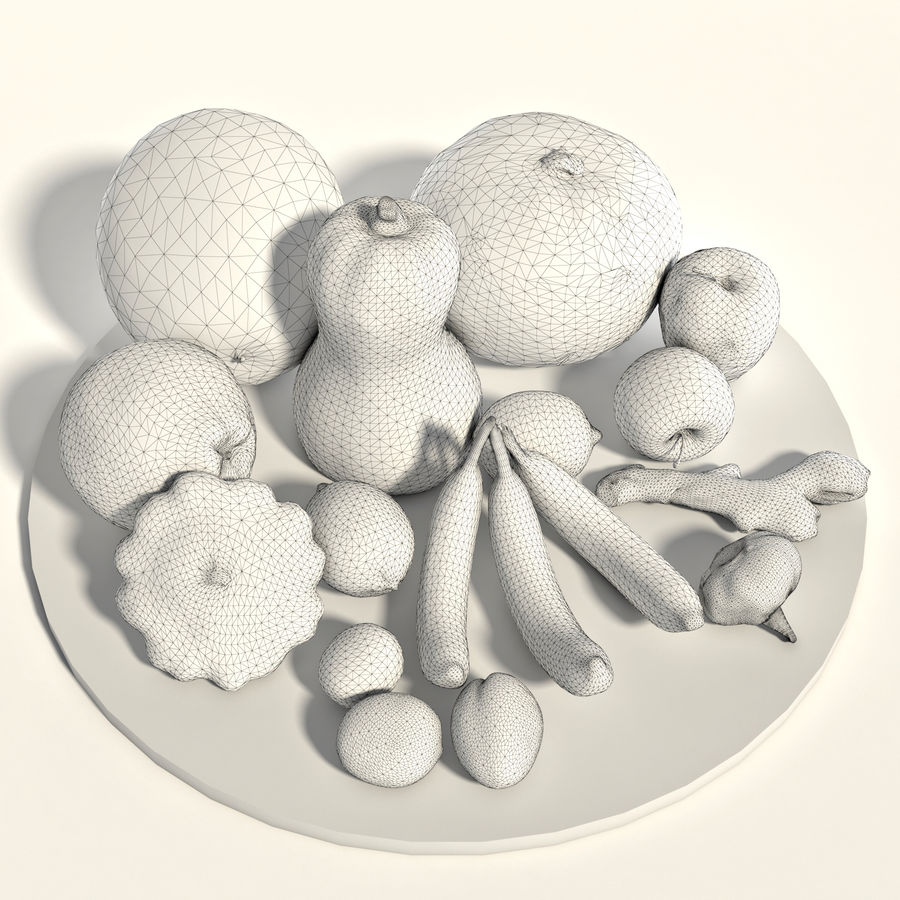 Set of fruits and vegetables royalty-free 3d model - Preview no. 2