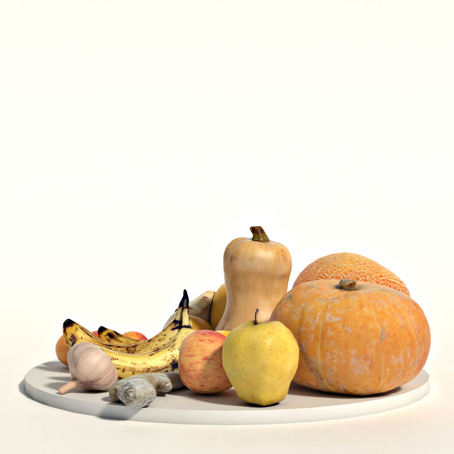 Set of fruits and vegetables royalty-free 3d model - Preview no. 4