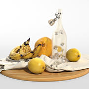 Conjunto de frutas amarelas 3d model