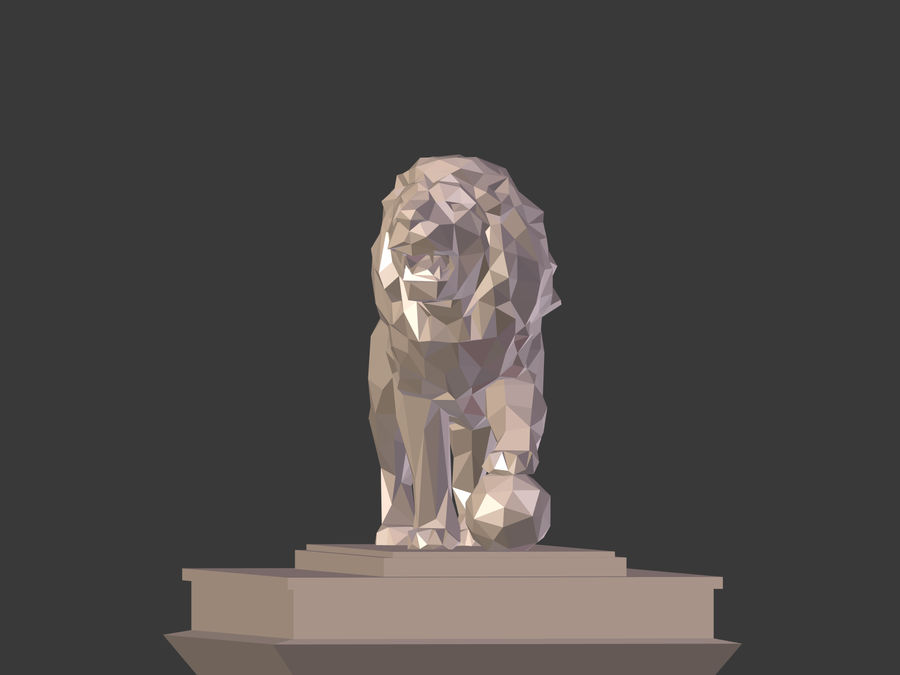 Cartoon Lion Statue - Low Poly royalty-free 3d model - Preview no. 7