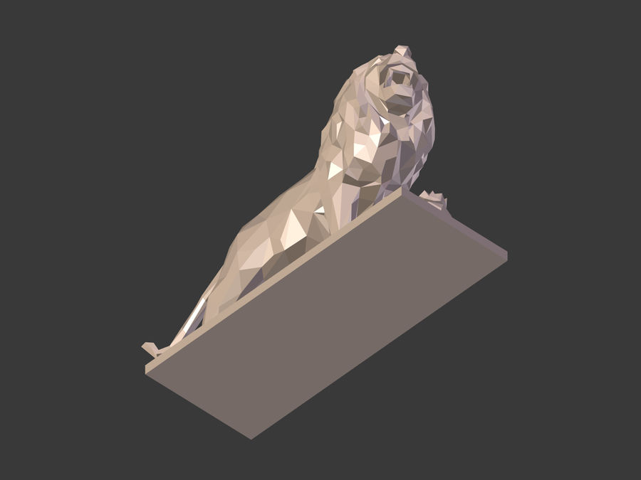 Cartoon Lion Statue - Low Poly royalty-free 3d model - Preview no. 15