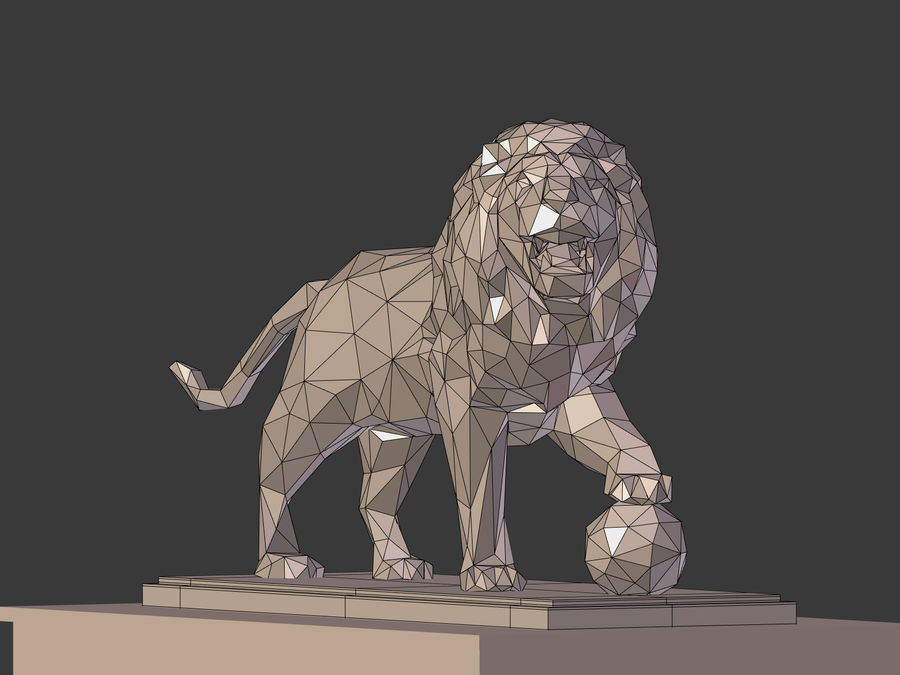 Cartoon Lion Statue - Low Poly royalty-free 3d model - Preview no. 6