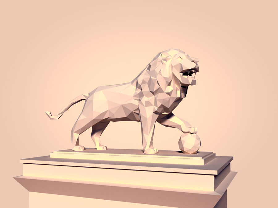 Cartoon Lion Statue - Low Poly royalty-free 3d model - Preview no. 1