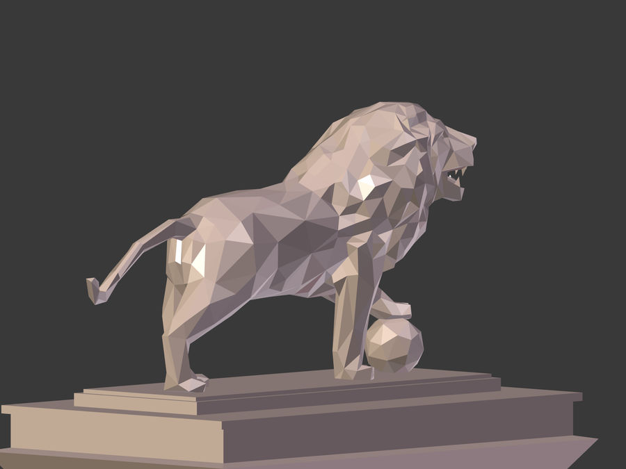 Cartoon Lion Statue - Low Poly royalty-free 3d model - Preview no. 8