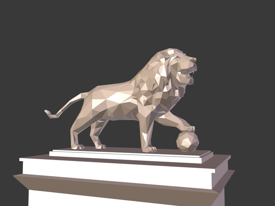 Cartoon Lion Statue - Low Poly royalty-free 3d model - Preview no. 2