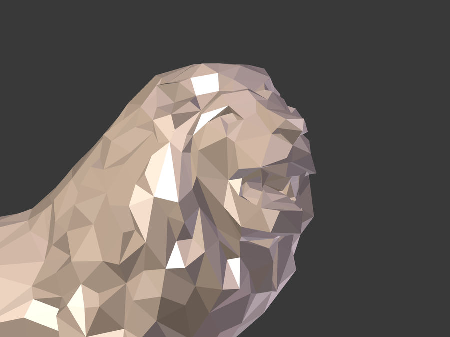 Cartoon Lion Statue - Low Poly royalty-free 3d model - Preview no. 19