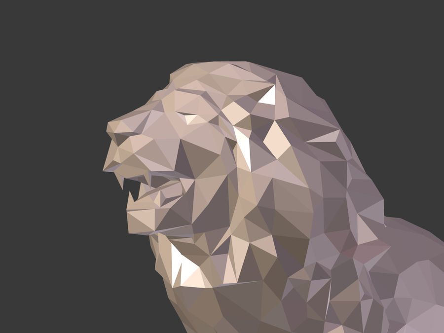 Cartoon Lion Statue - Low Poly royalty-free 3d model - Preview no. 17