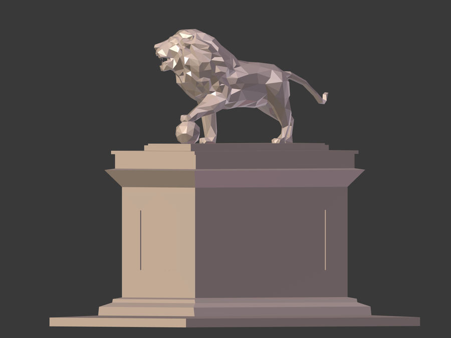 Cartoon Lion Statue - Low Poly royalty-free 3d model - Preview no. 11