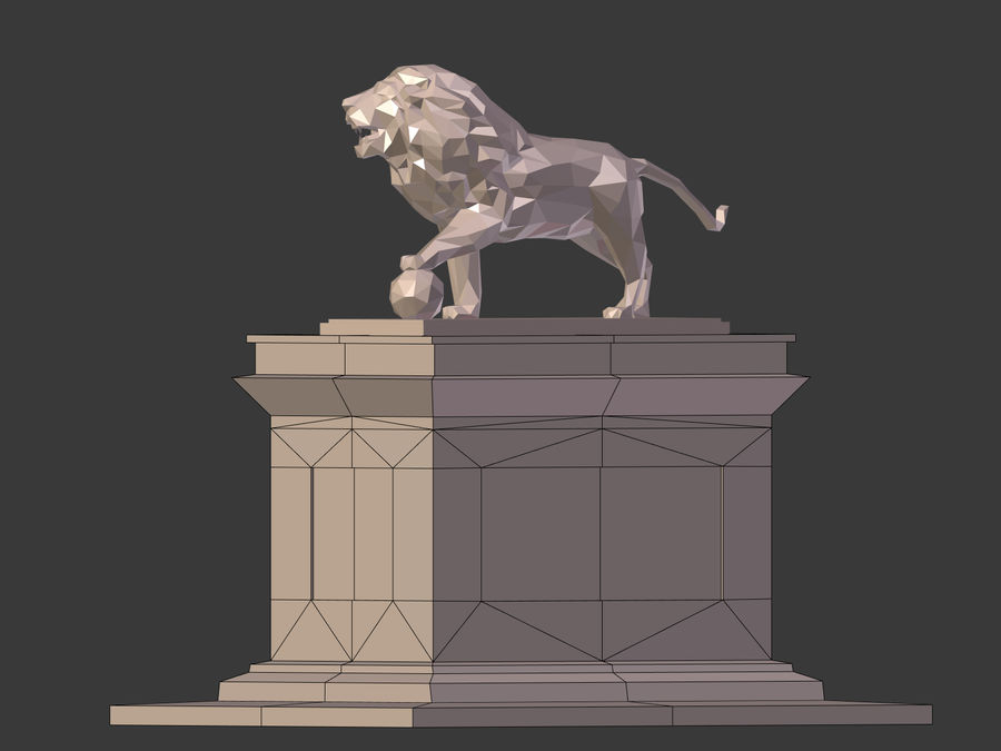 Cartoon Lion Statue - Low Poly royalty-free 3d model - Preview no. 12