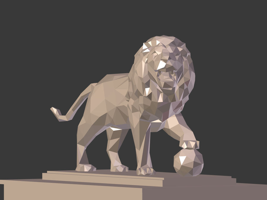 Cartoon Lion Statue - Low Poly royalty-free 3d model - Preview no. 5