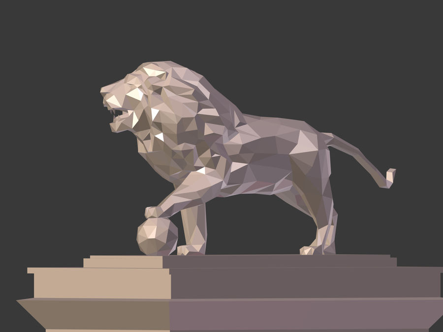Cartoon Lion Statue - Low Poly royalty-free 3d model - Preview no. 9