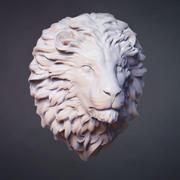 Rzeźba głowy lwa 3d model