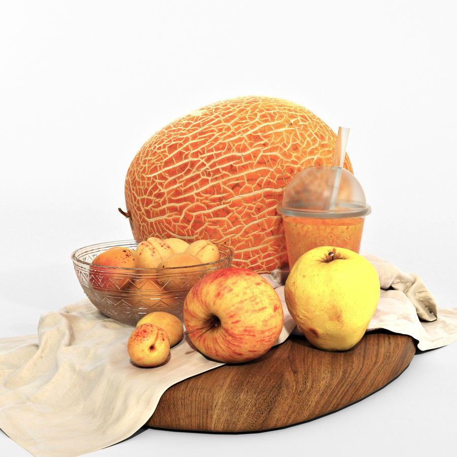 Set of orange fruits royalty-free 3d model - Preview no. 4