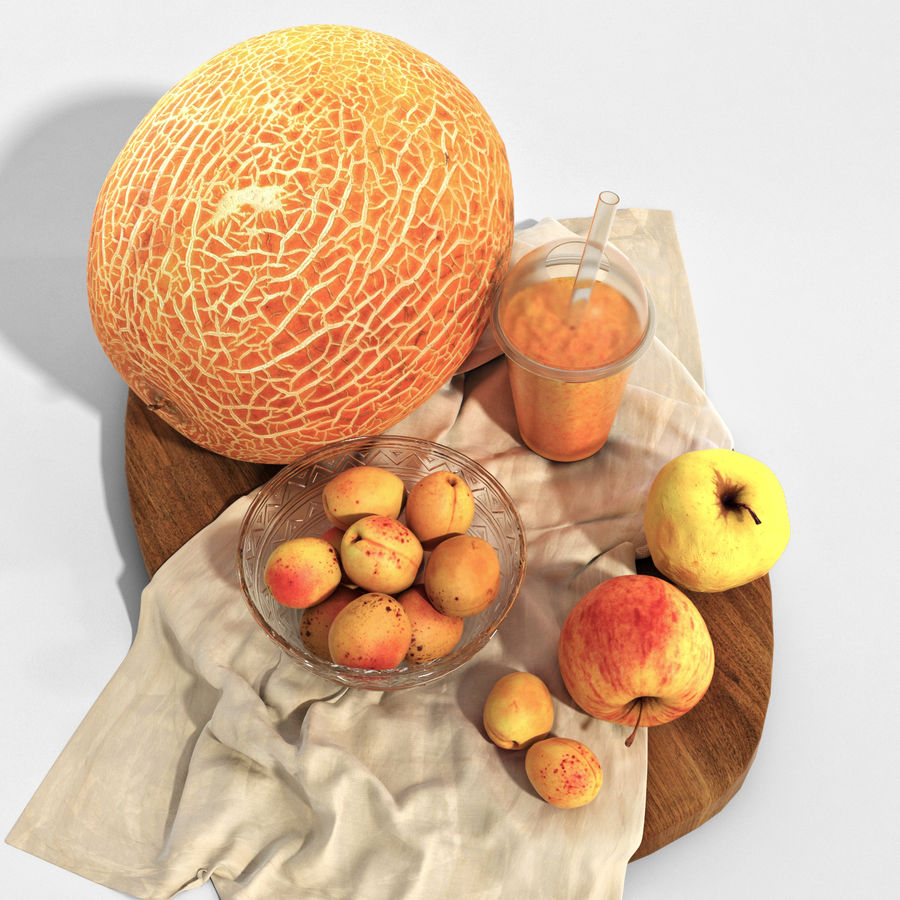 Set of orange fruits royalty-free 3d model - Preview no. 2