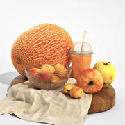 Set of orange fruits 3d model