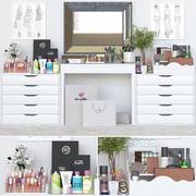 Toalettbord och kosmetika 3d model